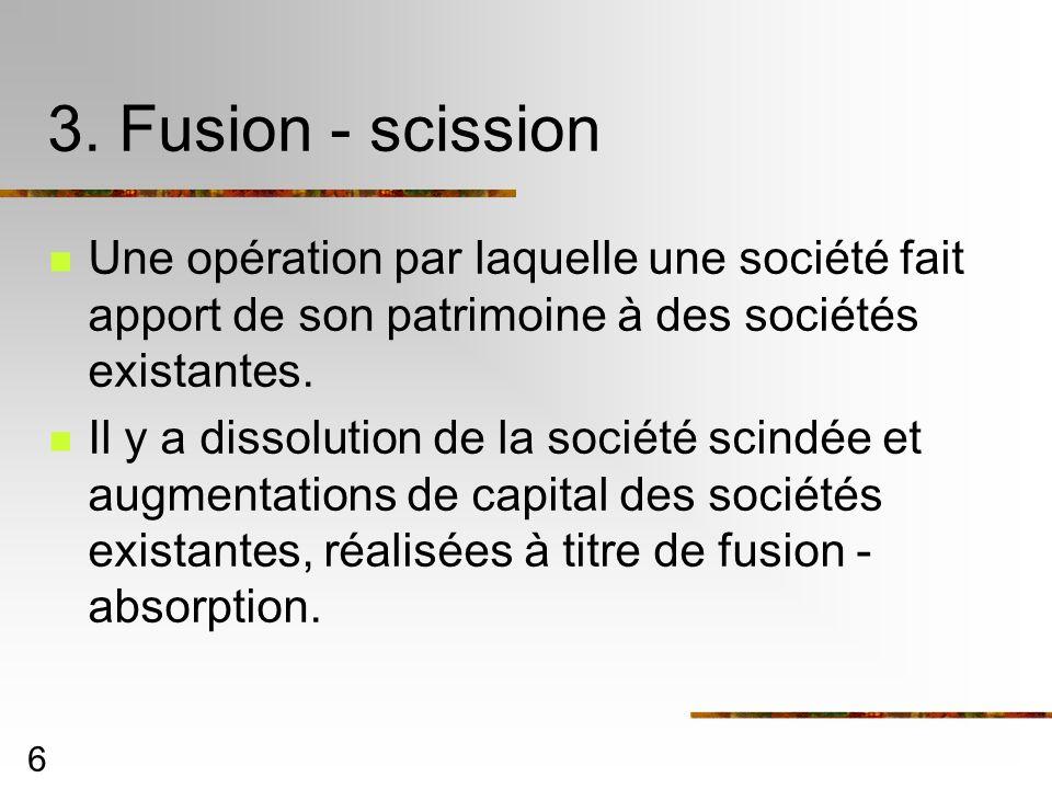 3. Fusion - scissionUne opération par laquelle une société fait apport de son patrimoine à des sociétés existantes.