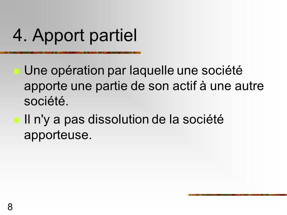 4. Apport partielUne opération par laquelle une société apporte une partie de son actif à une autre société.