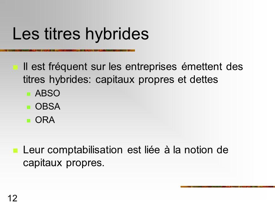 Les titres hybrides Il est fréquent sur les entreprises émettent des titres hybrides: capitaux propres et dettes.