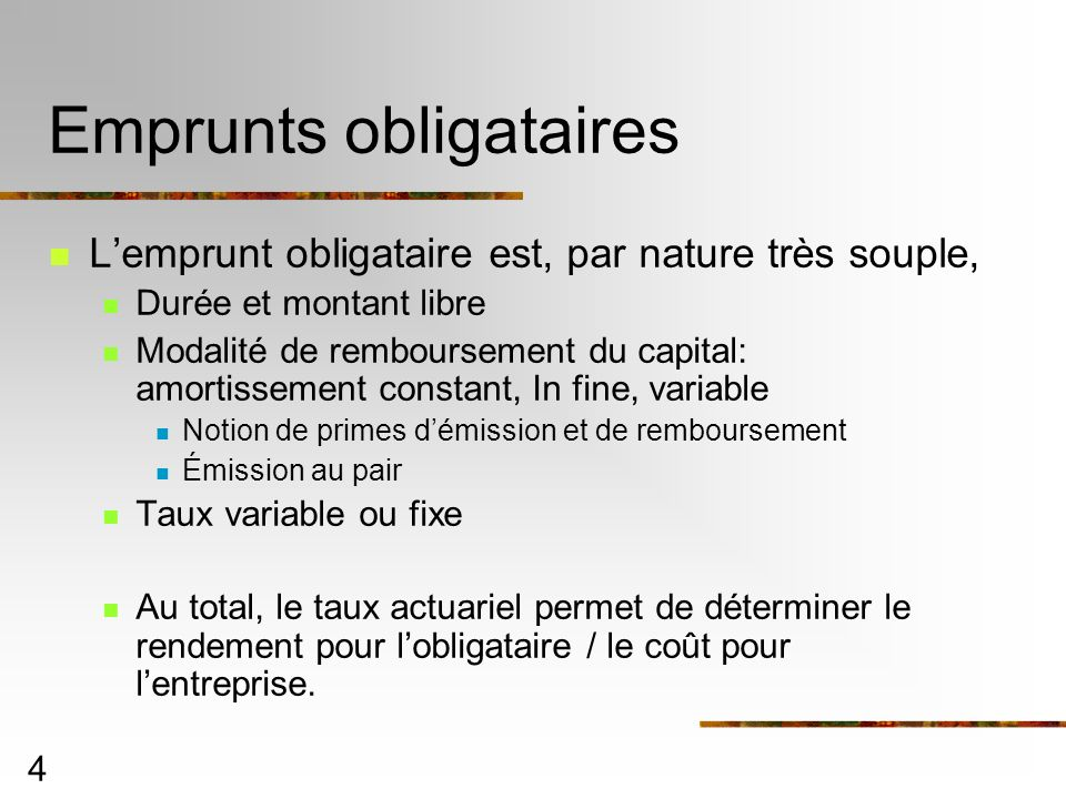 Emprunts obligataires