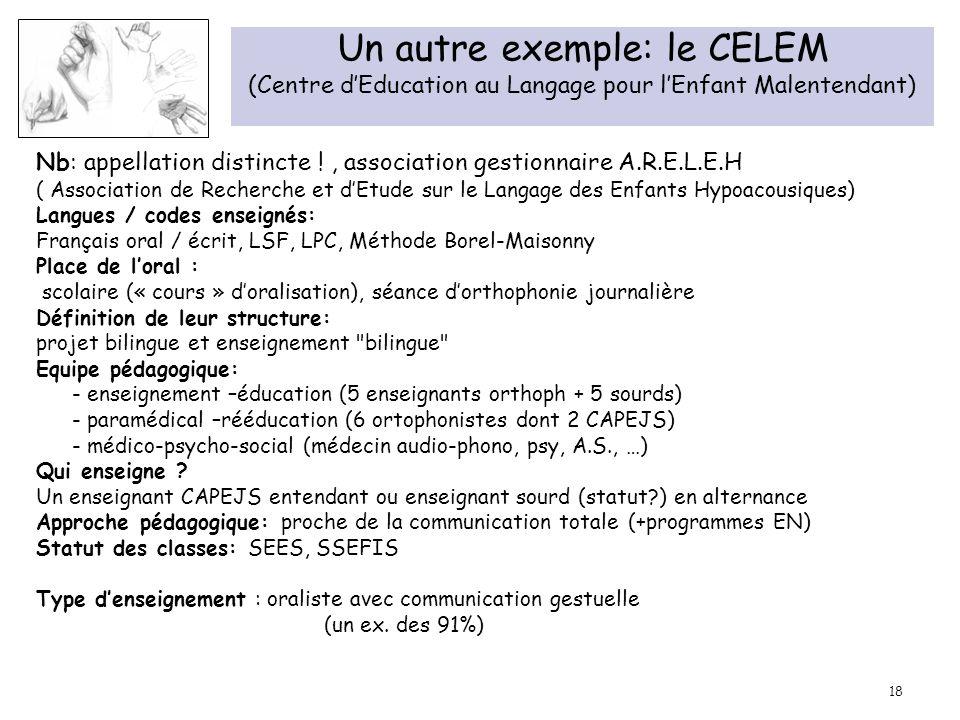 Un autre exemple: le CELEM (Centre d'Education au Langage pour l'Enfant Malentendant)