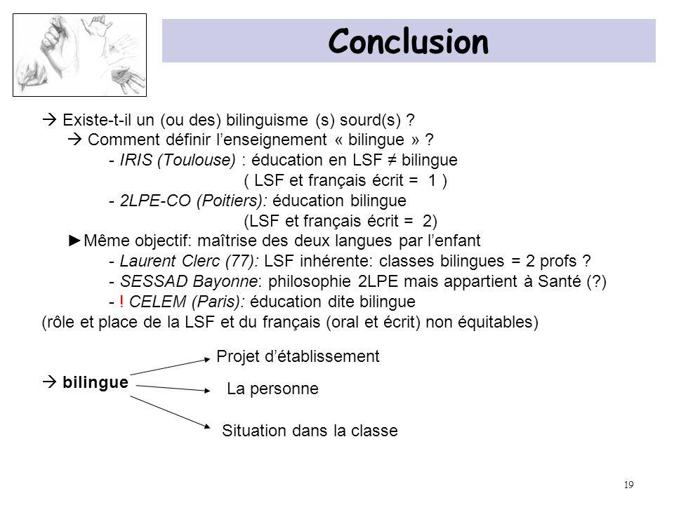 Conclusion  Existe-t-il un (ou des) bilinguisme (s) sourd(s)