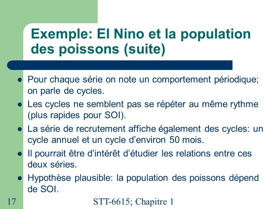 Exemple: El Nino et la population des poissons (suite)