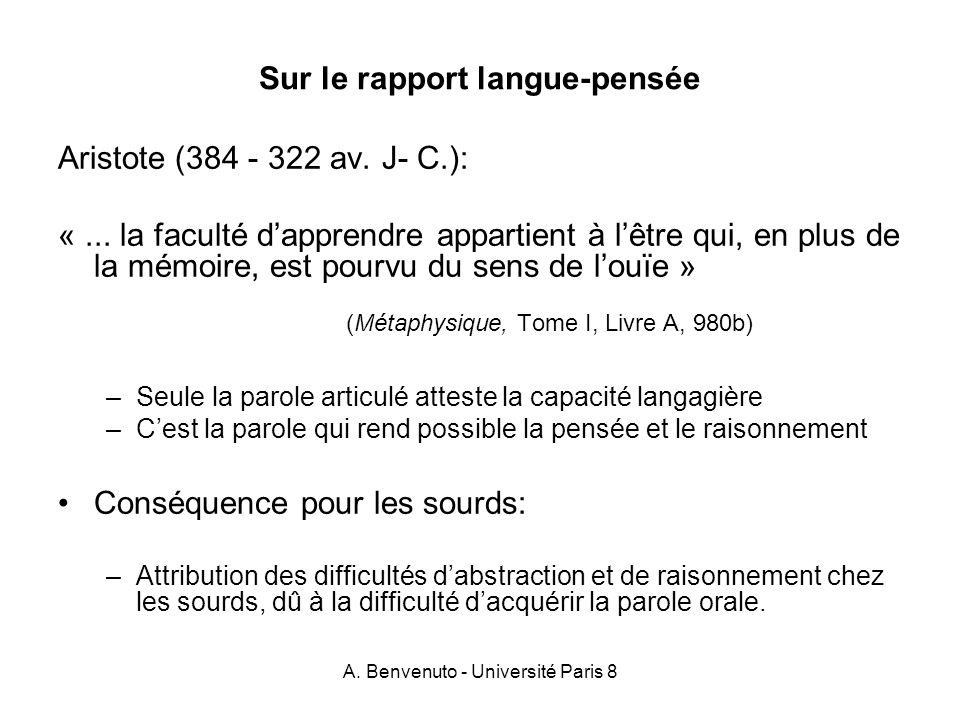 Sur le rapport langue-pensée