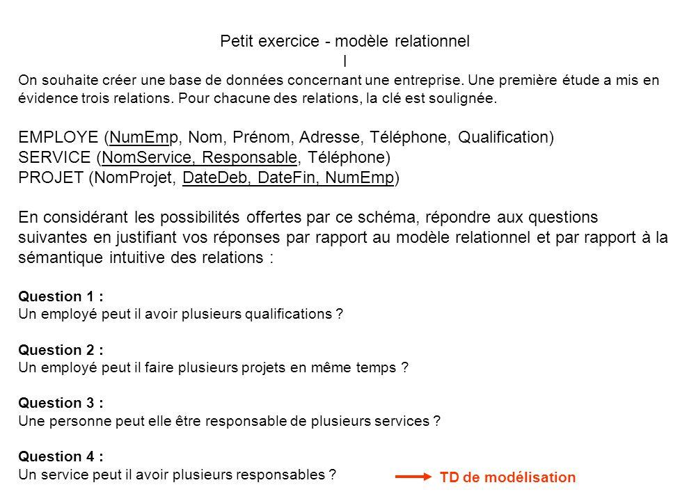 Petit exercice - modèle relationnel
