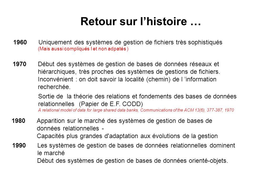 1960 Uniquement des systèmes de gestion de fichiers très sophistiqués