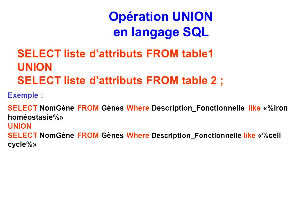 Opération UNION en langage SQL