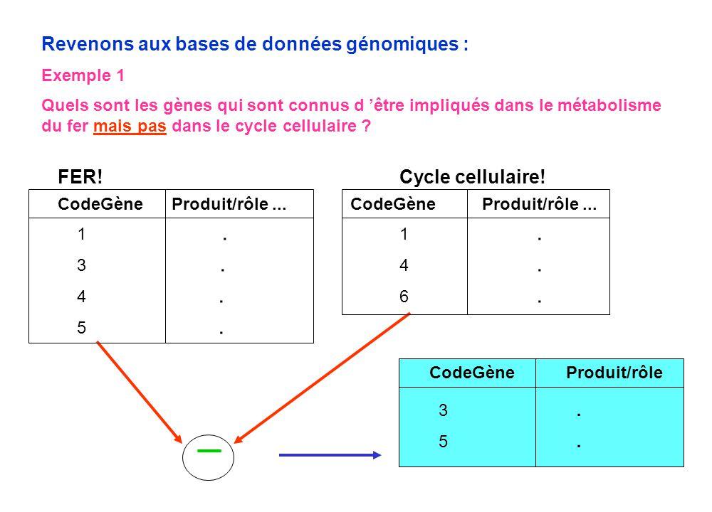  Revenons aux bases de données génomiques : FER! Cycle cellulaire!