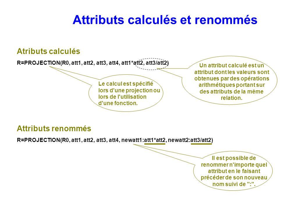 Attributs calculés et renommés