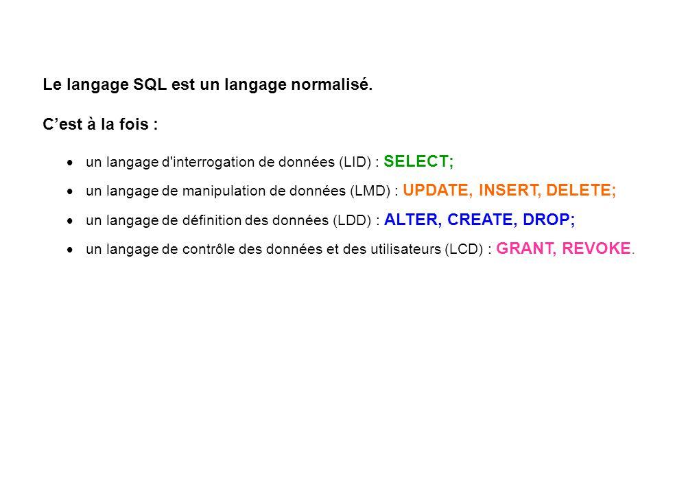 Le langage SQL est un langage normalisé. C'est à la fois :