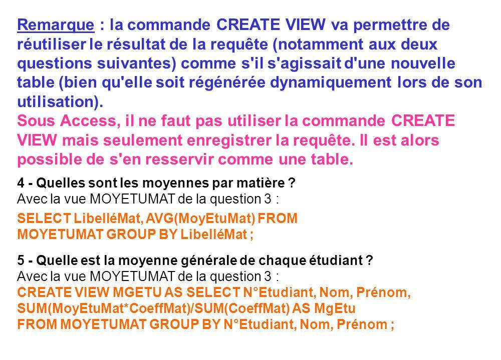 Remarque : la commande CREATE VIEW va permettre de réutiliser le résultat de la requête (notamment aux deux questions suivantes) comme s il s agissait d une nouvelle table (bien qu elle soit régénérée dynamiquement lors de son utilisation). Sous Access, il ne faut pas utiliser la commande CREATE VIEW mais seulement enregistrer la requête. Il est alors possible de s en resservir comme une table.