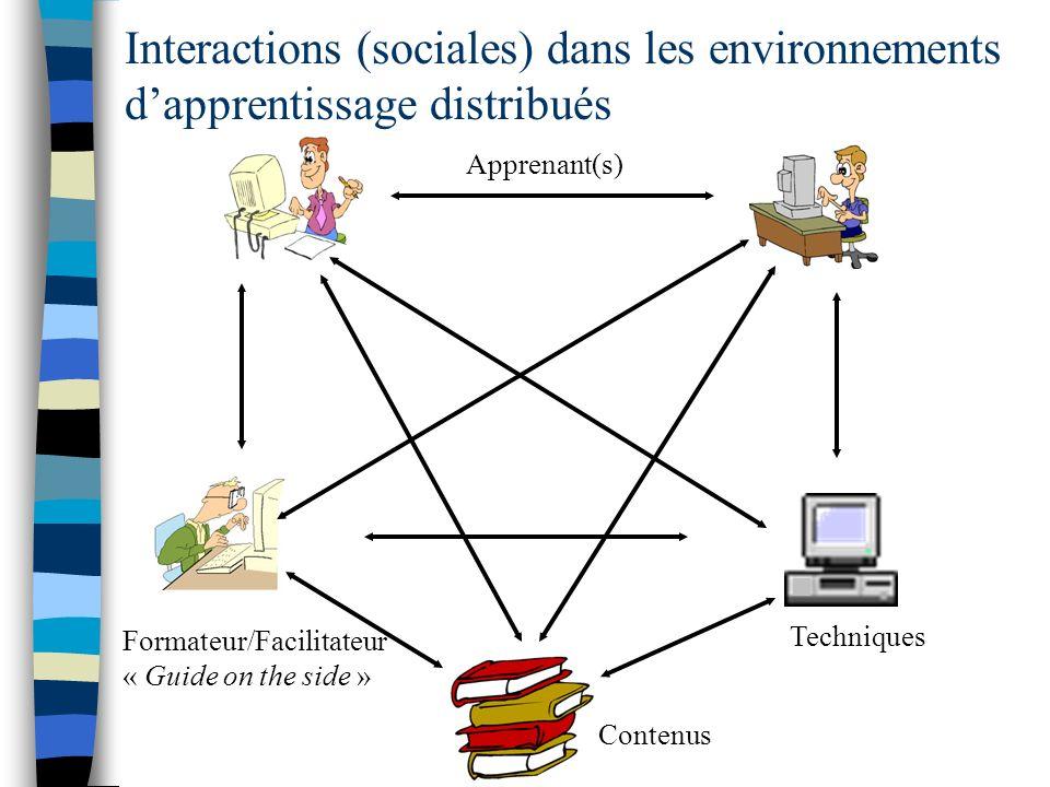 Interactions (sociales) dans les environnements d'apprentissage distribués
