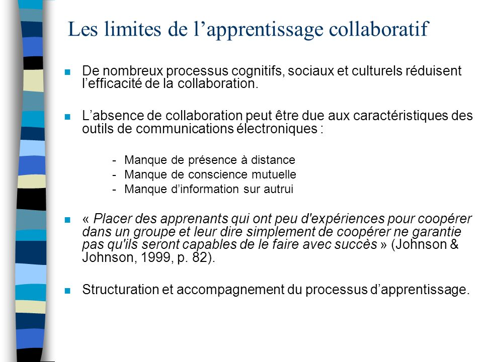 Les limites de l'apprentissage collaboratif