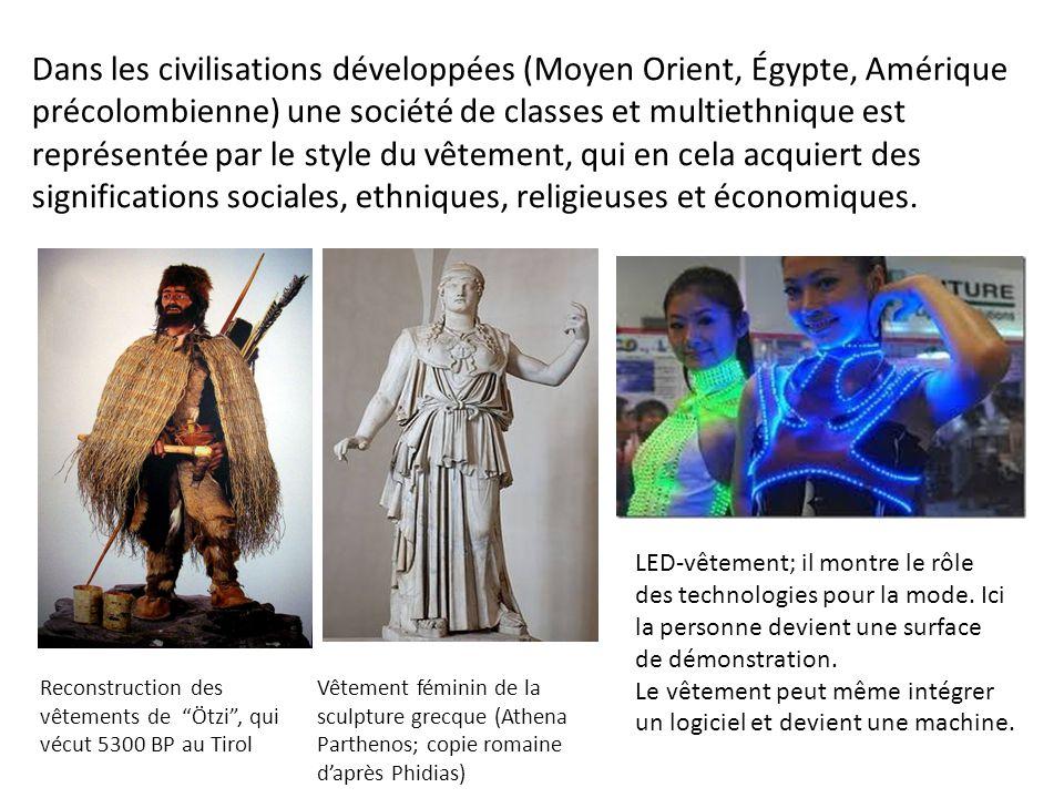 Dans les civilisations développées (Moyen Orient, Égypte, Amérique précolombienne) une société de classes et multiethnique est représentée par le style du vêtement, qui en cela acquiert des significations sociales, ethniques, religieuses et économiques.