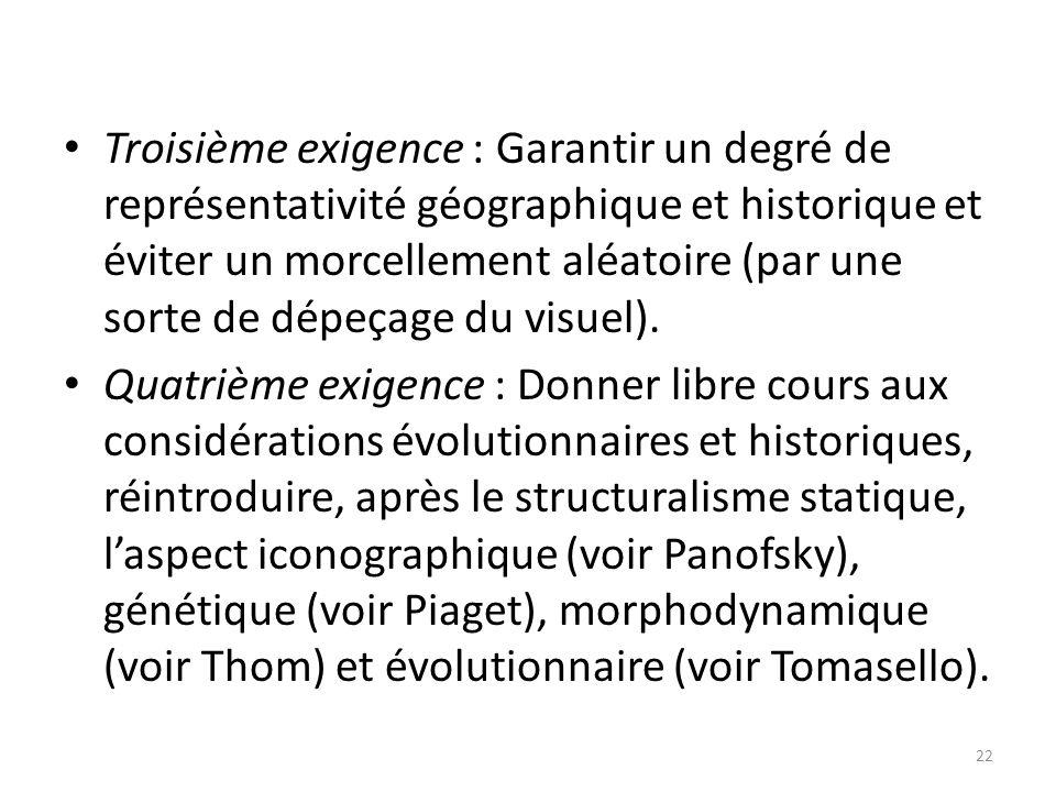 Troisième exigence : Garantir un degré de représentativité géographique et historique et éviter un morcellement aléatoire (par une sorte de dépeçage du visuel).
