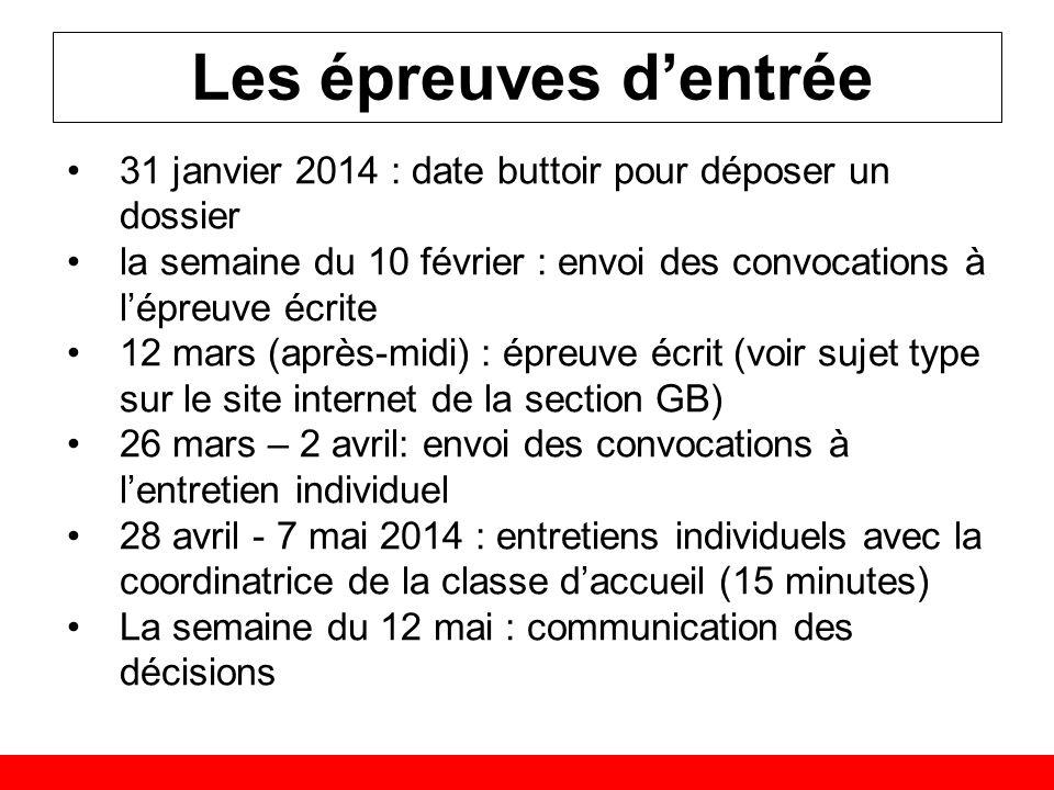 Les épreuves d'entrée 31 janvier 2014 : date buttoir pour déposer un dossier. la semaine du 10 février : envoi des convocations à l'épreuve écrite.