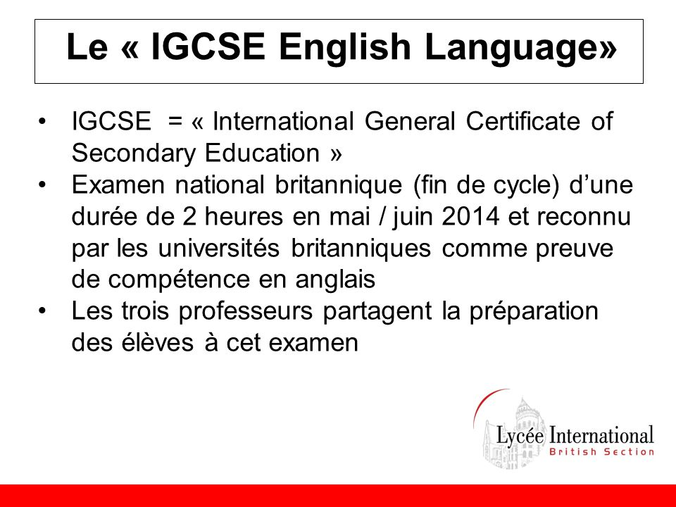 Le « IGCSE English Language»