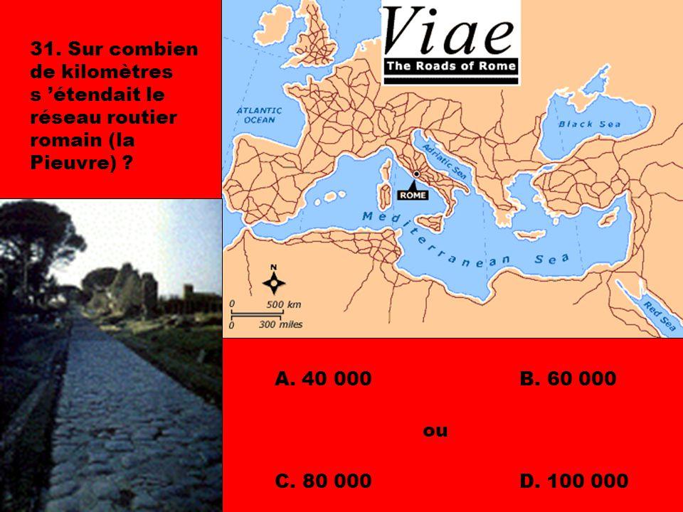 31. Sur combien de kilomètres s 'étendait le réseau routier romain (la Pieuvre)