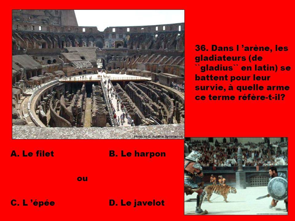 36. Dans l 'arène, les gladiateurs (de ``gladius`` en latin) se battent pour leur survie, à quelle arme ce terme réfère-t-il