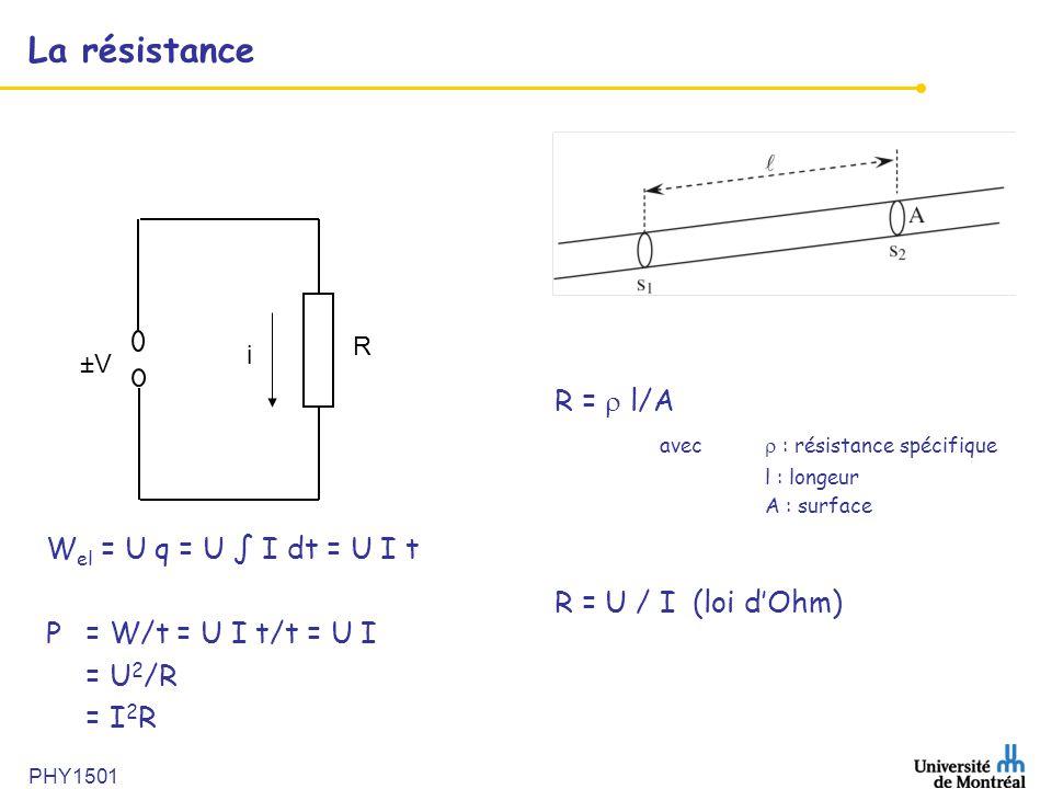 La résistance R =  l/A avec  : résistance spécifique