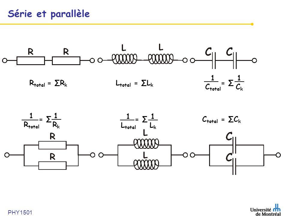 Série et parallèle 1 Ctotal 1 Ck Rtotal = ∑Rk Ltotal = ∑Lk = ∑ 1