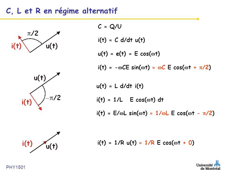 C, L et R en régime alternatif
