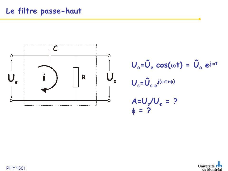 Le filtre passe-haut Ue=Ûe cos(t) = Ûe ejt Us=Ûs ej(t+)