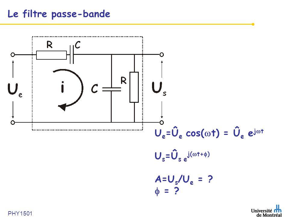 Le filtre passe-bande Ue=Ûe cos(t) = Ûe ejt Us=Ûs ej(t+)