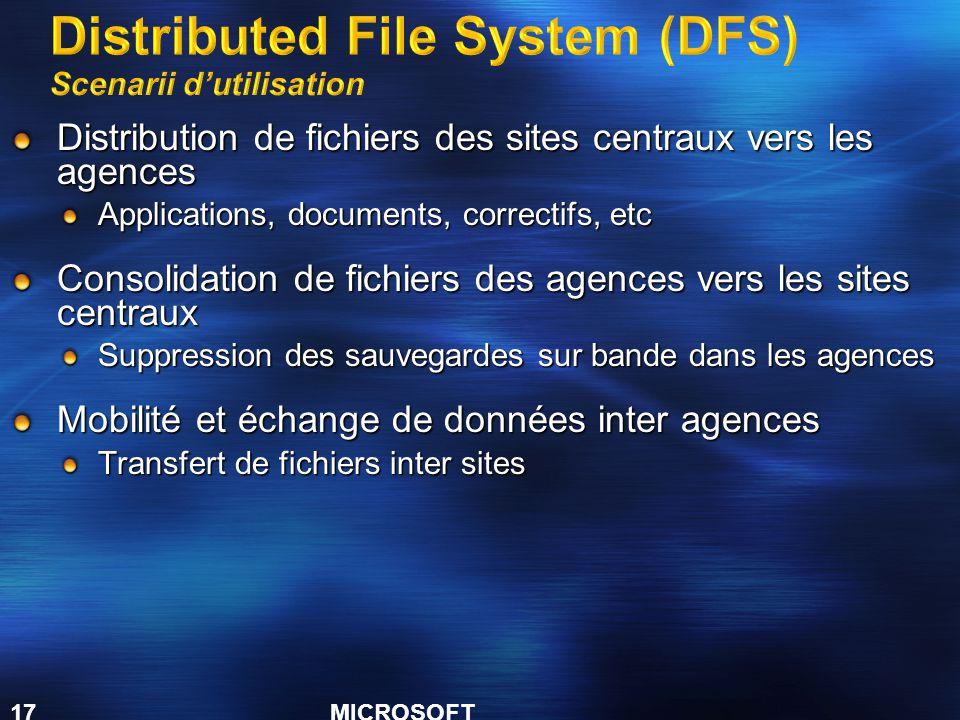 Distributed File System (DFS) Scenarii d'utilisation