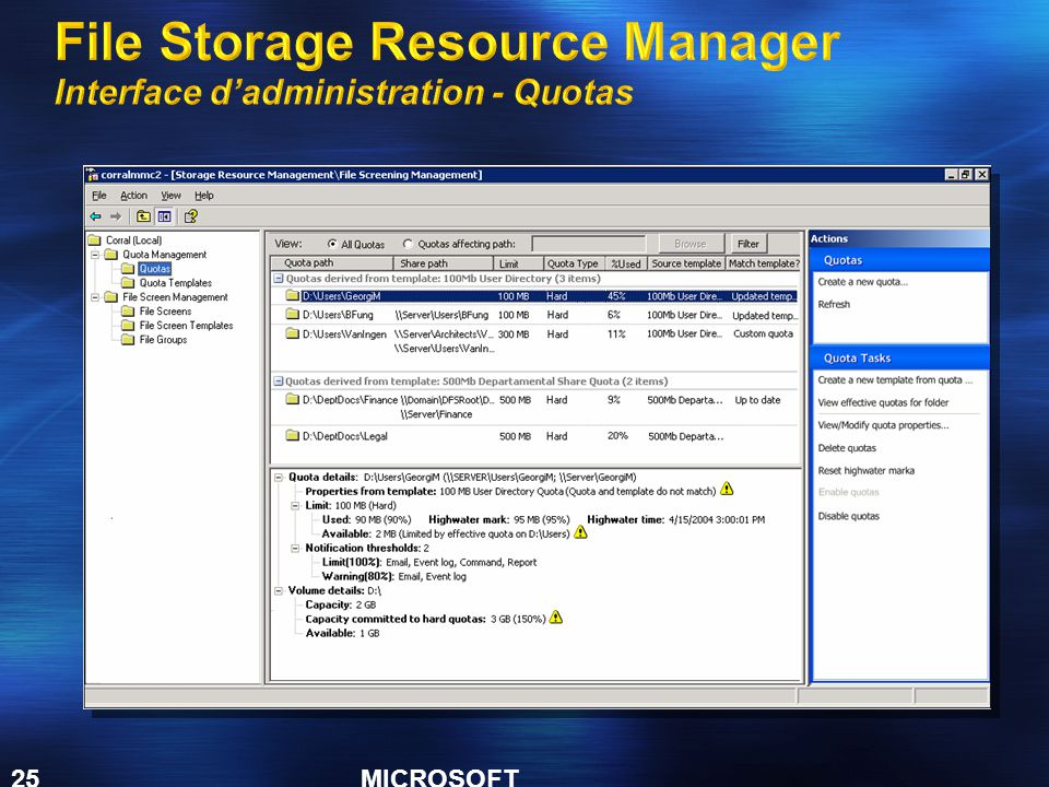 File Storage Resource Manager Interface d'administration - Quotas