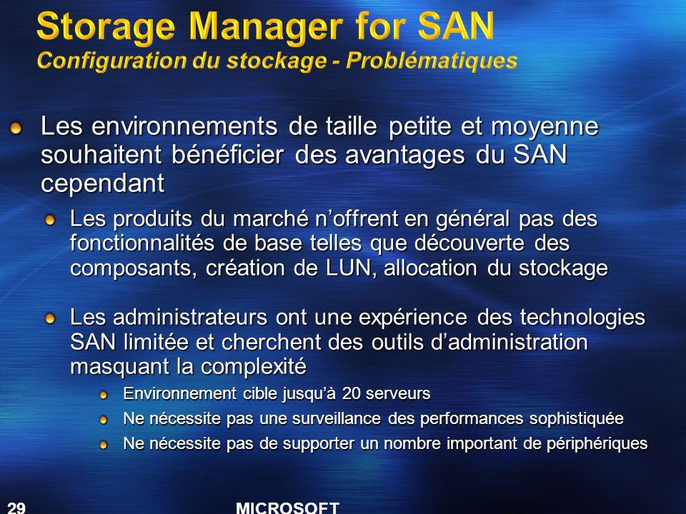 Storage Manager for SAN Configuration du stockage - Problématiques
