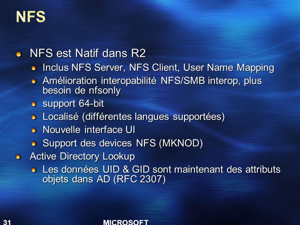 NFS NFS est Natif dans R2. Inclus NFS Server, NFS Client, User Name Mapping. Amélioration interopabilité NFS/SMB interop, plus besoin de nfsonly.