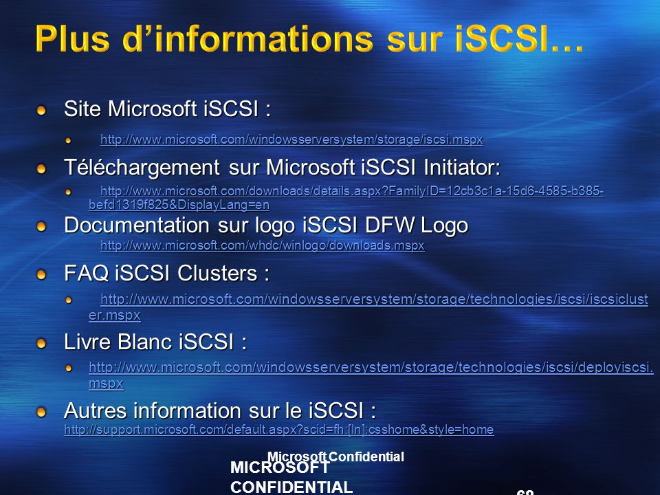 Plus d'informations sur iSCSI…