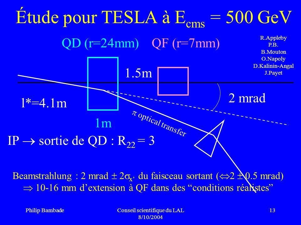 Étude pour TESLA à Ecms = 500 GeV