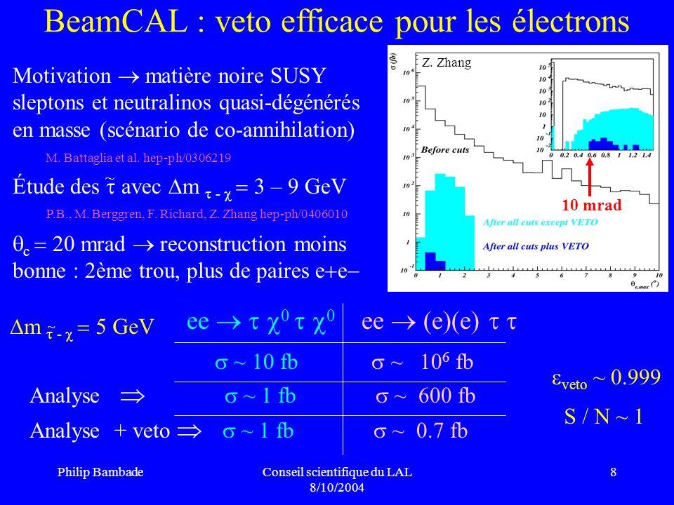 BeamCAL : veto efficace pour les électrons