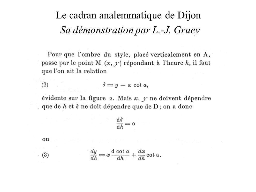 Le cadran analemmatique de Dijon Sa démonstration par L.-J. Gruey