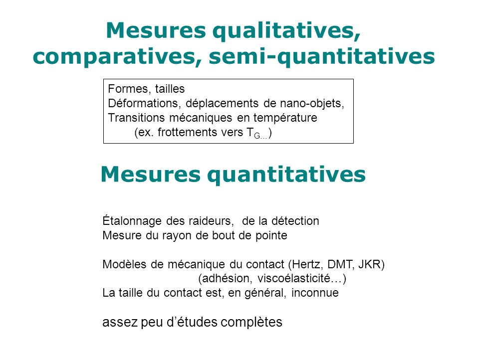 Mesures qualitatives, comparatives, semi-quantitatives