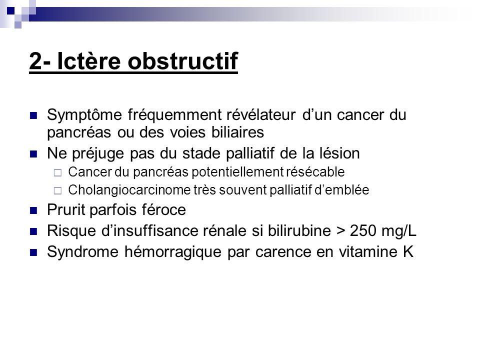 2- Ictère obstructif Symptôme fréquemment révélateur d'un cancer du pancréas ou des voies biliaires.