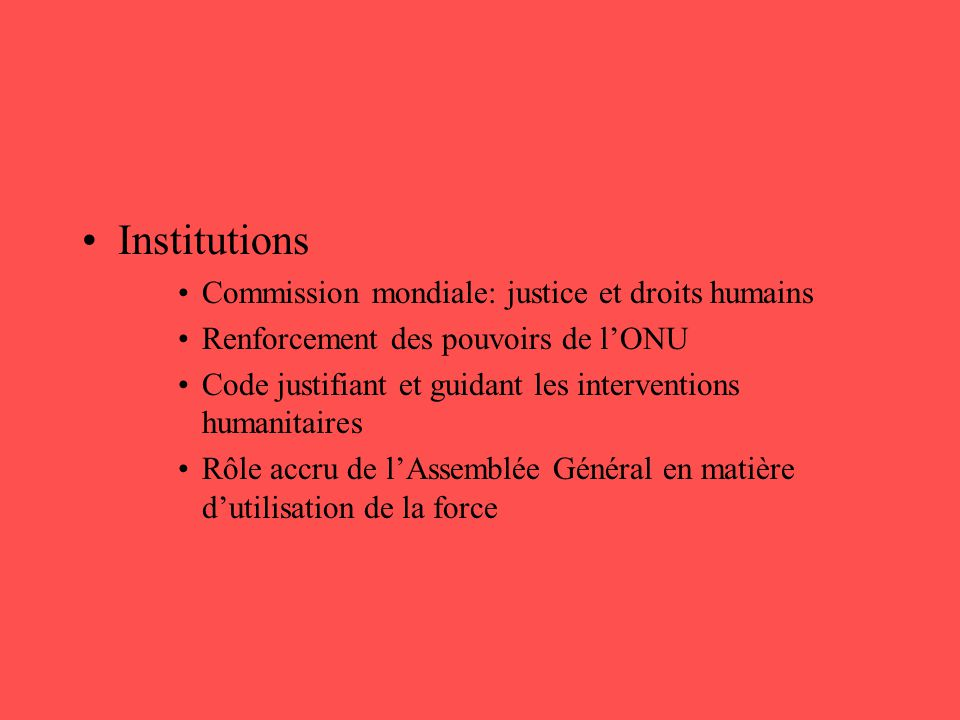 Institutions Commission mondiale: justice et droits humains