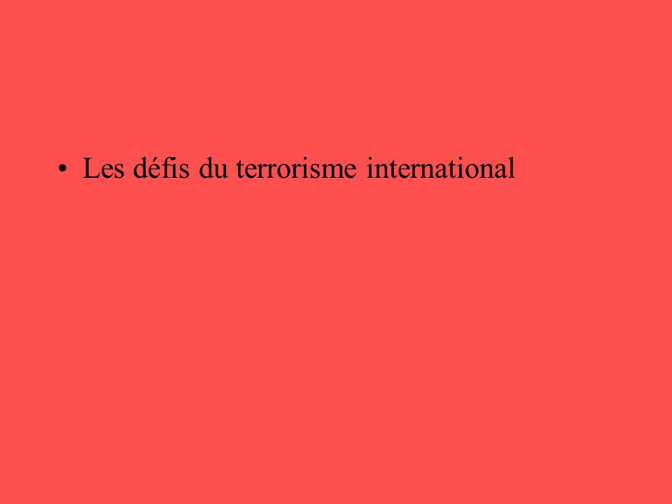 Les défis du terrorisme international