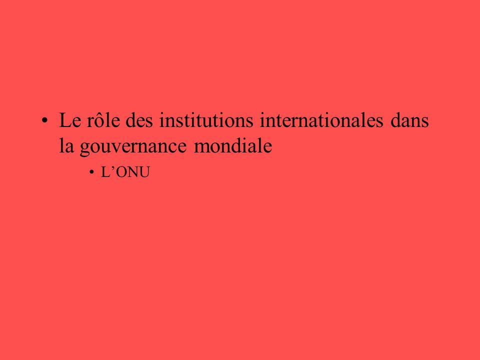 Le rôle des institutions internationales dans la gouvernance mondiale