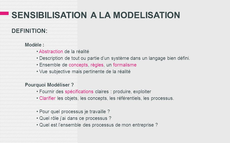 Sensibilisation a la modelisation