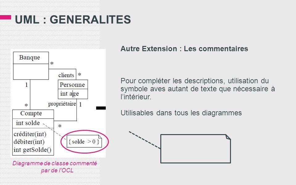 UML : GENERALITES Autre Extension : Les commentaires