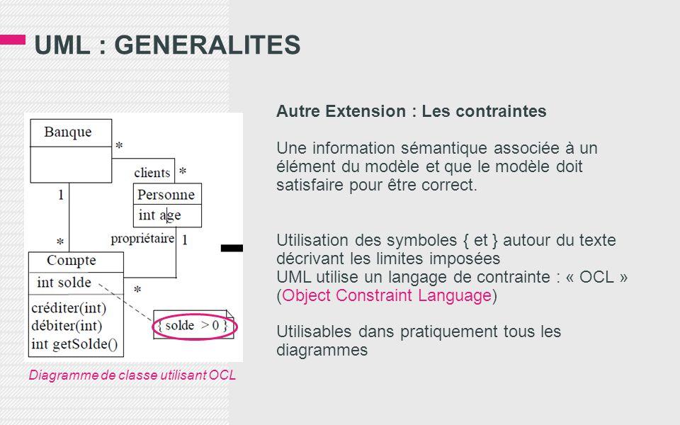 UML : GENERALITES Autre Extension : Les contraintes