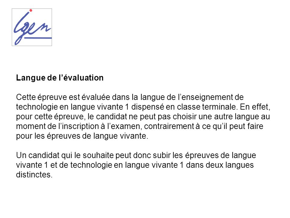 Langue de l'évaluation