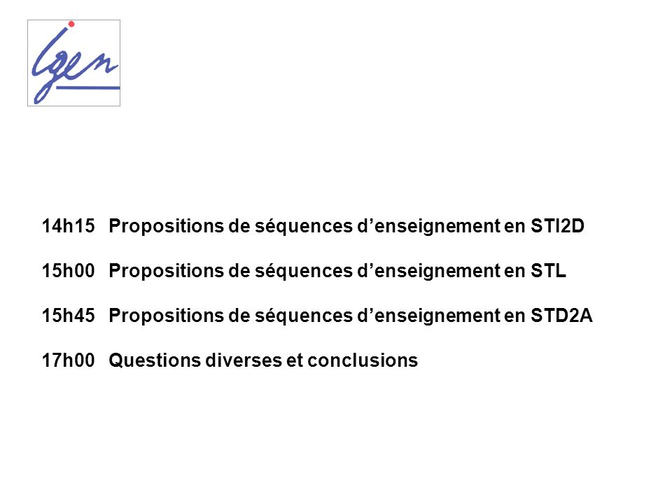14h15 Propositions de séquences d'enseignement en STI2D