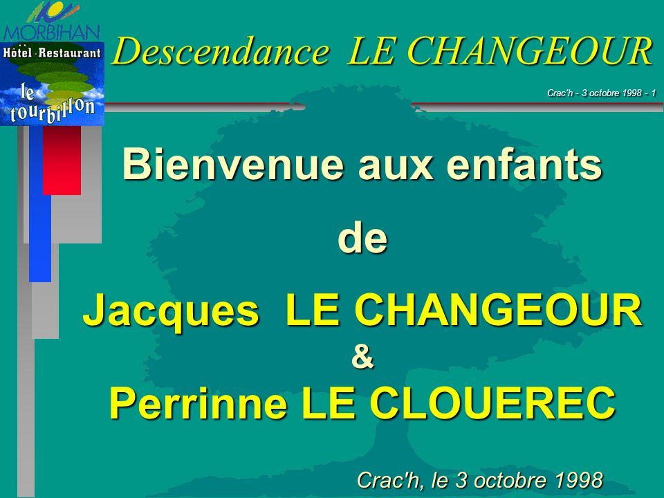 Bienvenue aux enfants de Jacques LE CHANGEOUR Perrinne LE CLOUEREC