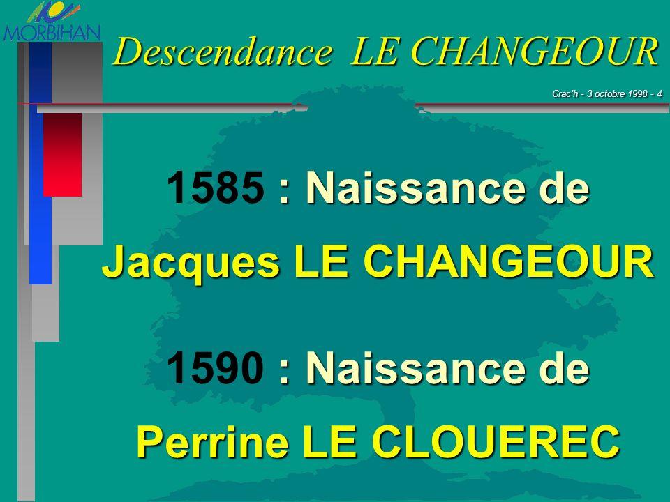 1585 : Naissance de Jacques LE CHANGEOUR 1590 : Naissance de Perrine LE CLOUEREC