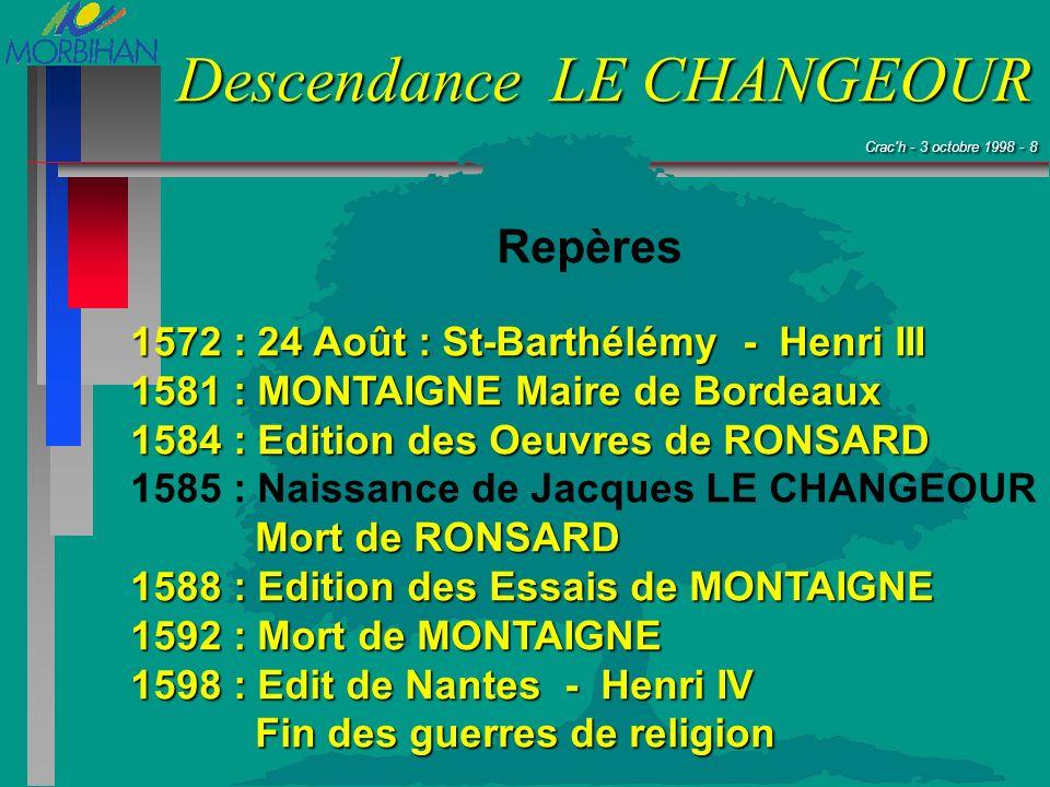 Repères 1572 : 24 Août : St-Barthélémy - Henri III. 1581 : MONTAIGNE Maire de Bordeaux. 1584 : Edition des Oeuvres de RONSARD.