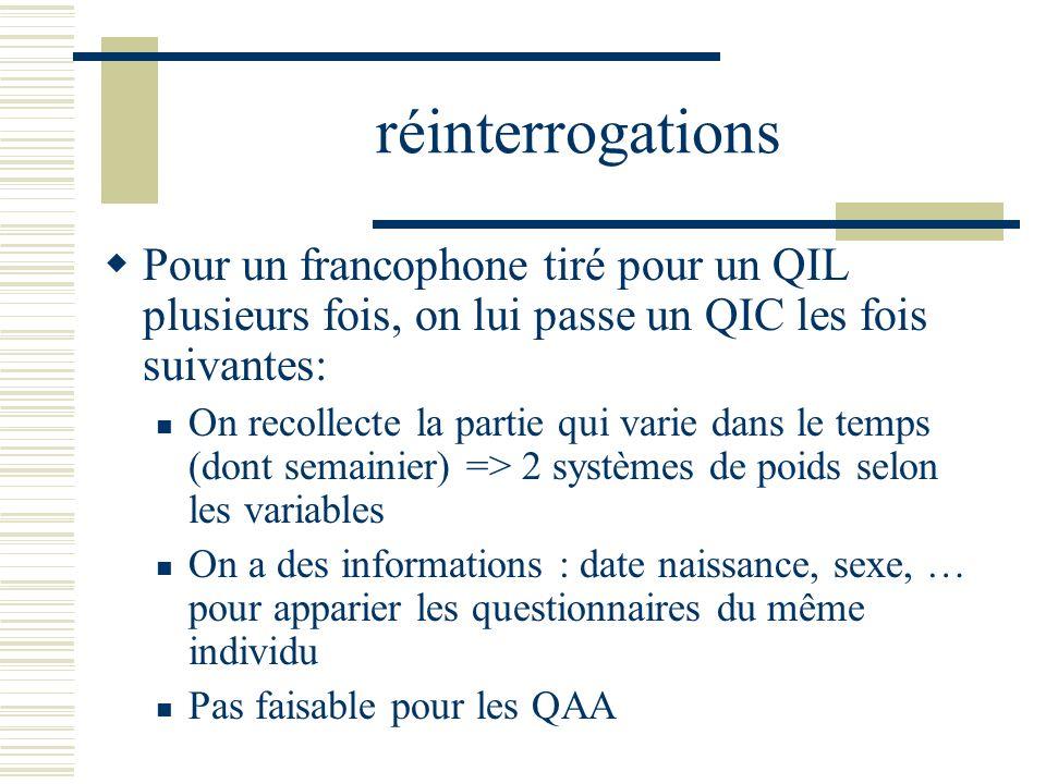 réinterrogations Pour un francophone tiré pour un QIL plusieurs fois, on lui passe un QIC les fois suivantes:
